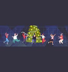 people having fun near christmas tree merry xmas vector image