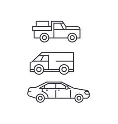 pickup car thin line icon concept pickup car vector image
