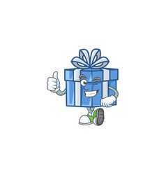Picture blue gift box making thumbs up gesture vector