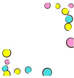 Polka dot frame with comic pop art confetti vector