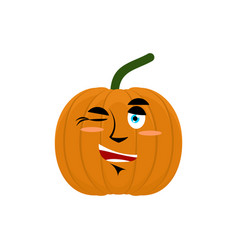 Pumpkin winks emoji halloween and thanksgiving vector