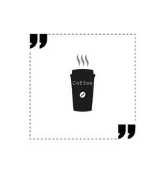 quote icon coffee logo design white background vector image