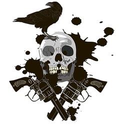 Raven on Skull vector image