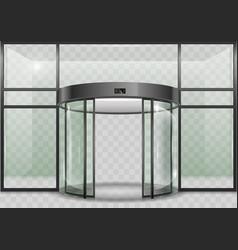 Round glass automatic door vector