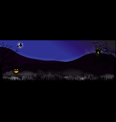 scary graveyard and castle on the hill halloween vector image