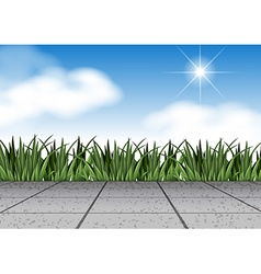 Scene with grass and floor vector