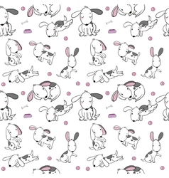 Seamless pattern with cartoon dogs Funny puppies vector