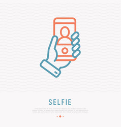 selfie thin line icon hand holding smartphone vector image