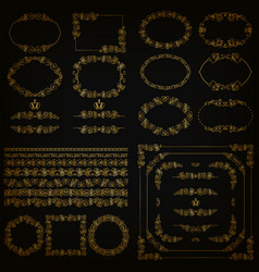 set of gold decorative hand-drawn floral elements vector image