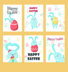 Set of greeting cards with easter rabbits vector