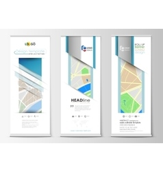 Set of roll up banner stands geometric style vector