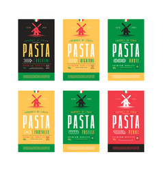 set of templates label for pasta vector image