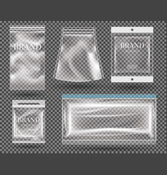 set transparent empty plastic packaging vector image