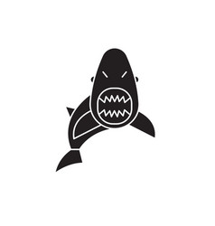 shark black concept icon shark flat vector image