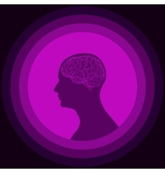 Silhouette of the human head with brain vector image
