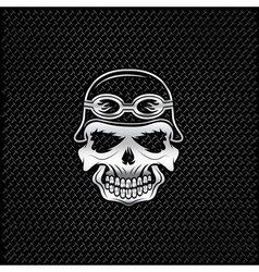 Silver skull in helmet on metal background biker vector