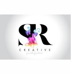 Sr vibrant creative leter logo design with vector