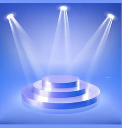 stage podium in blue neon spotlight vector image