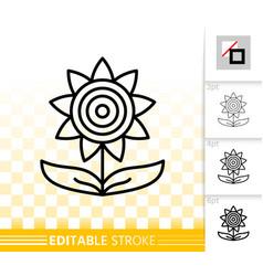 Sunflower helianthus simple black line icon vector