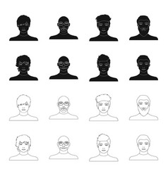 the appearance of the young guy the face of a vector image