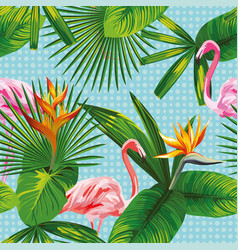 tropical leaves and flowers seamless flamingo vector image