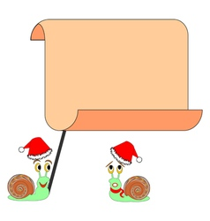 Two funny Christmas cartoon snails with a big blan vector image