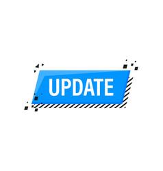 Update blue label on white background blue banner vector