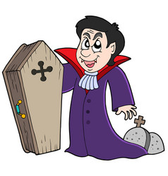 vampire with coffin and graves vector image