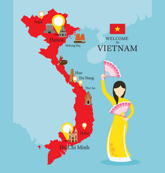 Vietnam map and landmarks with people in vector