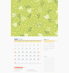 Wall calendar template for may 2020 week starts vector