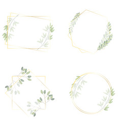 watercolor green leaves wreath with luxury golden vector image