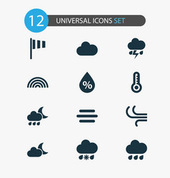 Weather icons set collection of breeze flag vector