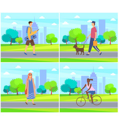 Woman and man with dog skateboarder and afro girl vector