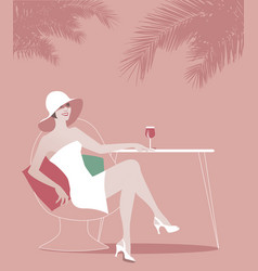 Woman wearing hat drinking red wine under the vector