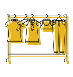 Yellow watercolor silhouette of female clothes vector