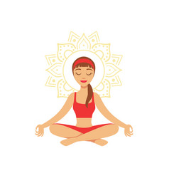 Young woman practising yoga in lotus position vector