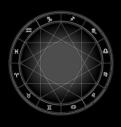 Zodiac wheel monochrome horoscope chart vector image