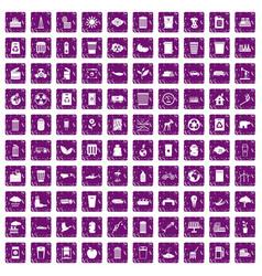 100 ecology icons set grunge purple vector image