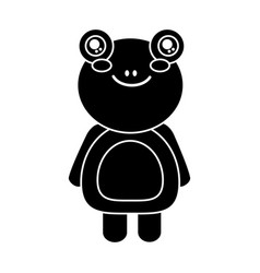 cute animal frog standing cartoon wildlife vector image