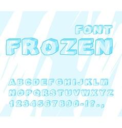 Frozen font Ice alphabet Transparent ABC Cold blue vector image