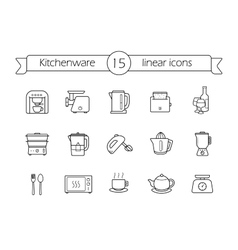 Kitchenware linear icons set vector image vector image