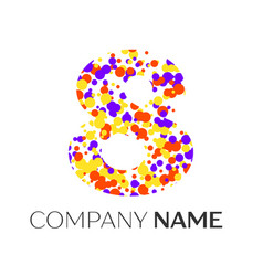 number eight logo with purple yellow particles vector image vector image