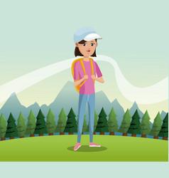 Young girl backpack cap landscape background vector