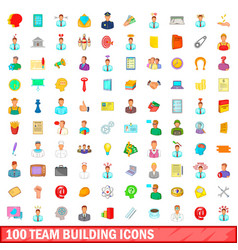 100 team building icons set cartoon style vector image vector image