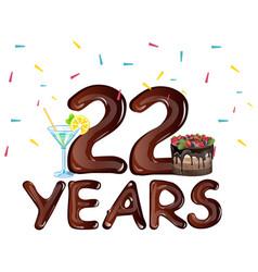 22 years anniversary celebration birthday vector image vector image