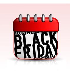 Black Friday Calendar icon vector image vector image