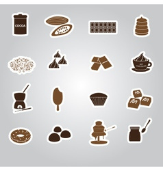 chocolate stickers set eps10 vector image