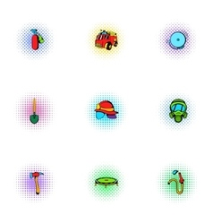 Firefighter icons set pop-art style vector image vector image