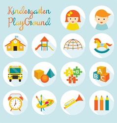 Kindergarten preschool objects icons set vector