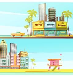 Miami Beach Horizontal Banners vector image